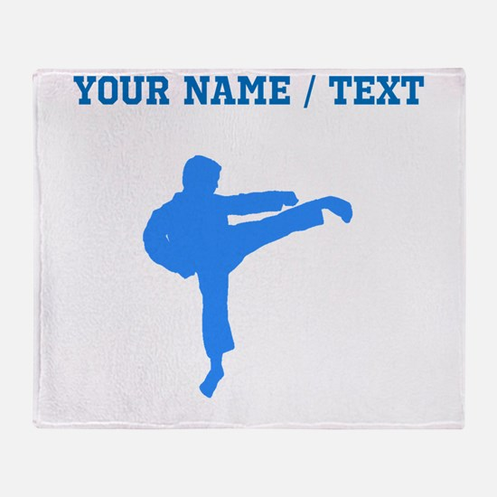 Custom Blue Karate Kick Silhouette Throw Blanket