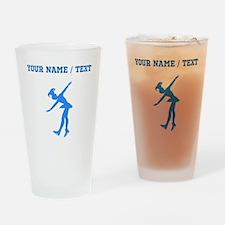 Custom Blue Figure Skate Silhouette Drinking Glass