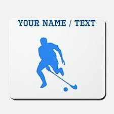 Custom Blue Field Hockey Player Silhouette Mousepa
