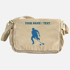 Custom Blue Field Hockey Player Silhouette Messeng