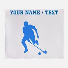 Custom Blue Field Hockey Player Silhouette Throw B