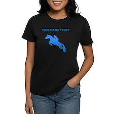 Custom Blue Equestrian Horse Silhouette T-Shirt