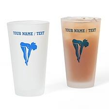 Custom Blue Diver Silhouette Drinking Glass