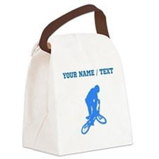 Custom Blue BMX Biker Silhouette Canvas Lunch Bag