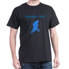 Custom Blue BMX Biker Silhouette T-Shirt