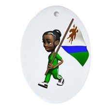 Lesotho Girl Oval Ornament