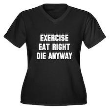 Exercise Eat Women's Plus Size V-Neck Dark T-Shirt