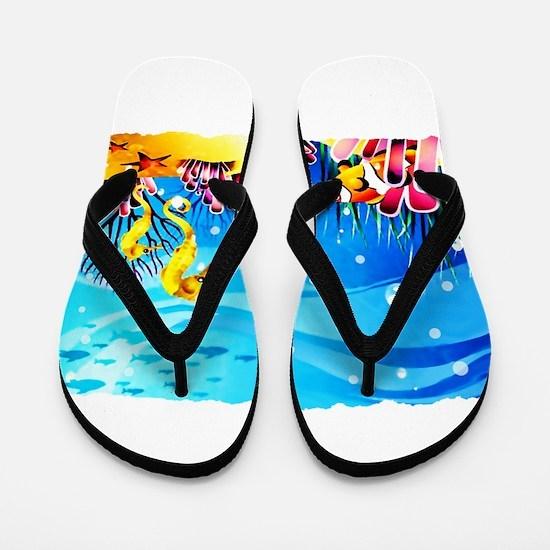 Undersea Coral, Fish Seahorses Flip Flops