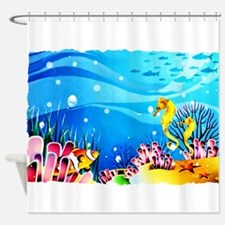Undersea Coral, Fish Seahorses Shower Curtain