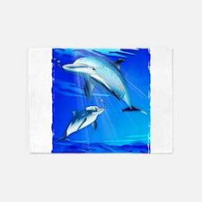 Mom Baby Dolphin 5'x7'Area Rug