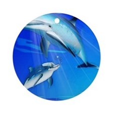 Mom Baby Dolphin Ornament (Round)