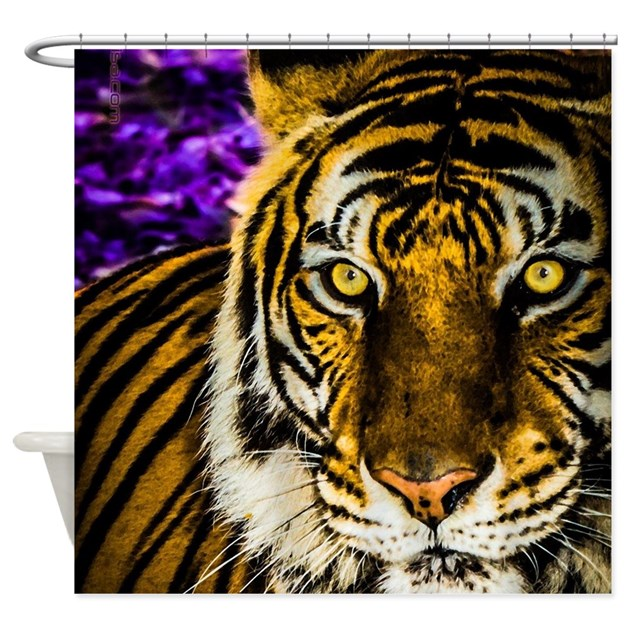 Purple & Gold Tiger Shower Curtain by listing-store-109945170