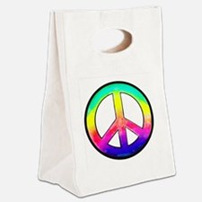 Multi-color Peace Symbol Canvas Lunch Tote