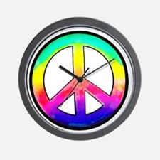 Multi-color Peace Symbol Wall Clock