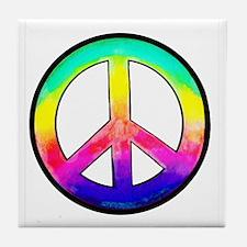 Multi-color Peace Symbol Tile Coaster