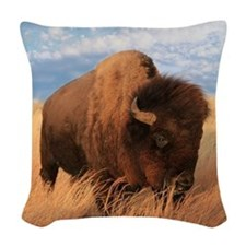 Bull Buffalo Woven Throw Pillow