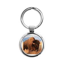 Bull Buffalo Round Keychain