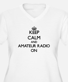Keep calm and Amateur Radio ON Plus Size T-Shirt