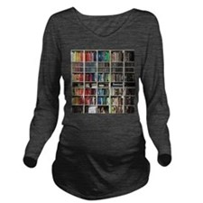 colorful library 2 Long Sleeve Maternity T-Shirt