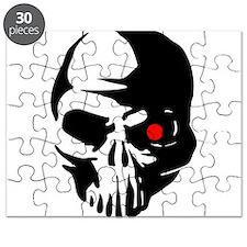 Cyborg Terminator Cyber Robot Tech Skull In Puzzle