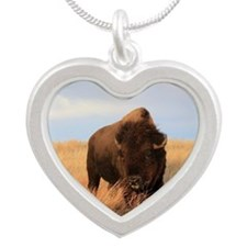 Bison on the plains Silver Heart Necklace