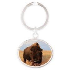 Bison on the plains Oval Keychain