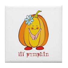 Lil' Pumpkin Flower Tile Coaster