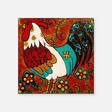 """Retro Rooster Square Sticker 3"""" x 3"""""""
