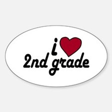 I Love 2nd Grade Oval Decal