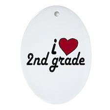 I Love 2nd Grade Oval Ornament