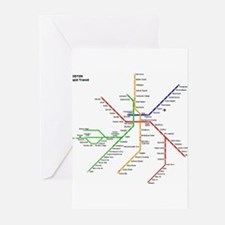 Boston Rapid Transit Map Subway Met Greeting Cards