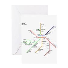 Boston Rapid Transit Map Subway Met Greeting Cards