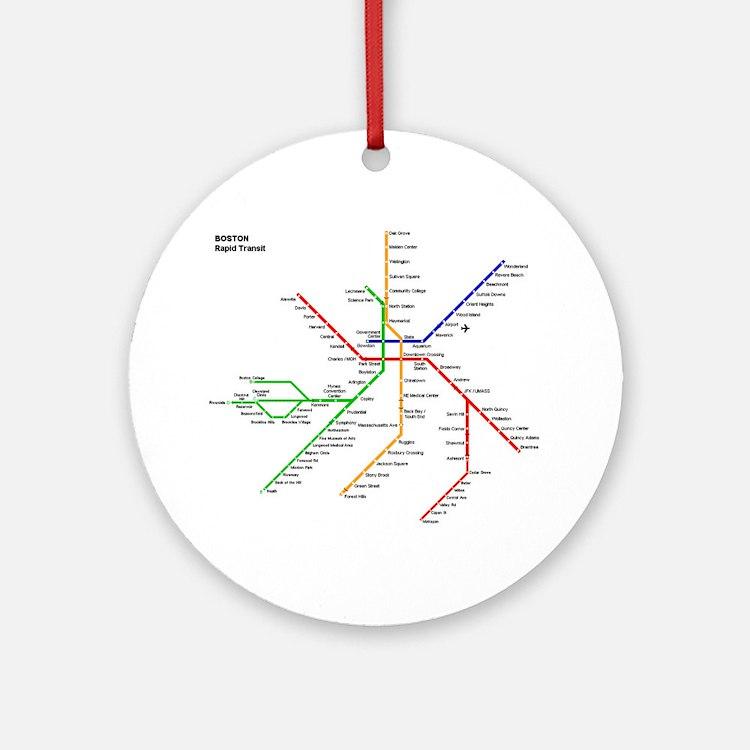Boston Rapid Transit Map Subway M Ornament (Round)