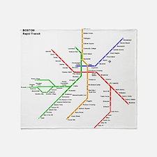 Boston Rapid Transit Map Subway Metr Throw Blanket