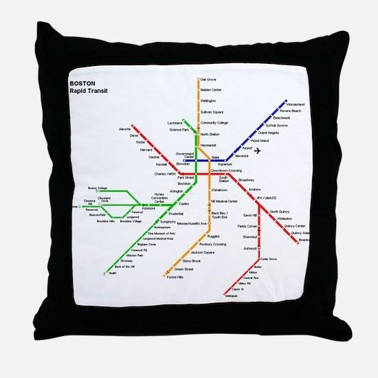 Boston Rapid Transit Map Subway Metro Throw Pillow
