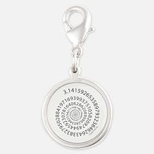 Spiral Pi Silver Round Charm
