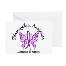 Fibromyalgia Butterfly 6.1 Greeting Card