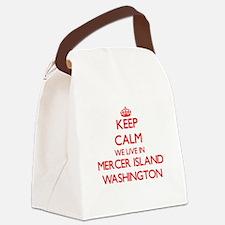 Keep calm we live in Mercer Islan Canvas Lunch Bag