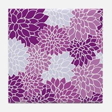 Purple Flowers Tile Coaster