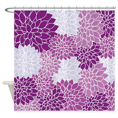 purple flowers shower curtain by admin cp3570132