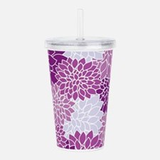 Purple Flowers Acrylic Double-wall Tumbler
