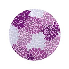"Purple Flowers 3.5"" Button (100 pack)"