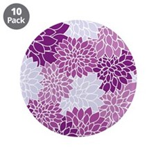 "Purple Flowers 3.5"" Button (10 pack)"