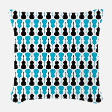 Blue String Bass Pattern Woven Throw Pillow