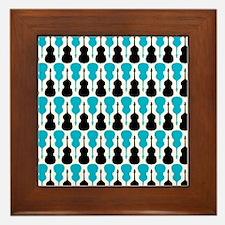 Blue String Bass Pattern Framed Tile