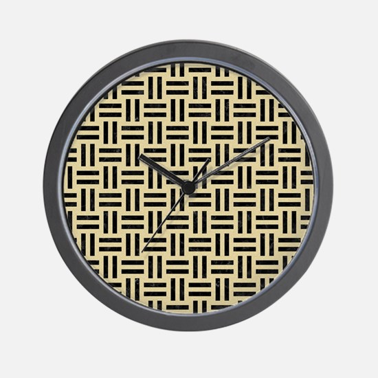 WOVEN1 BLACK MARBLE & LIGHT SAND (R) Wall Clock