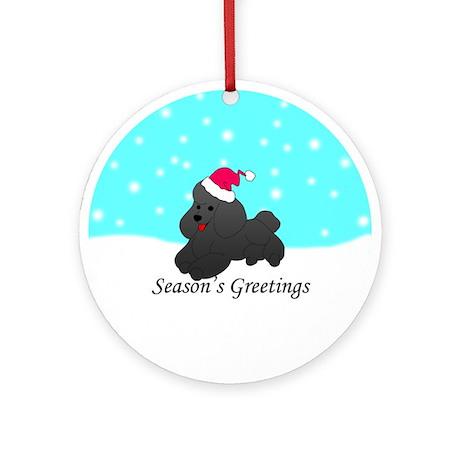 Black Poodle Ornament (Round)