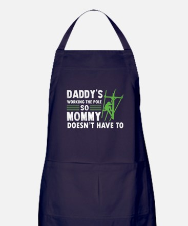 My Dad Is Working The Pole T Shirt Apron (dark)