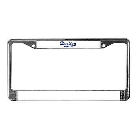 Cursive Blue Brooklyn License Plate Frame