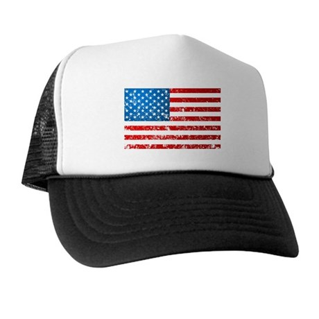 Old Glory USA Flag Distressed Look Trucker Hat